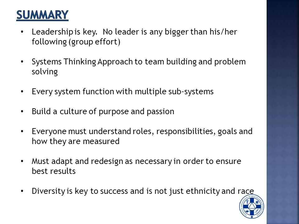 Leadership is key.
