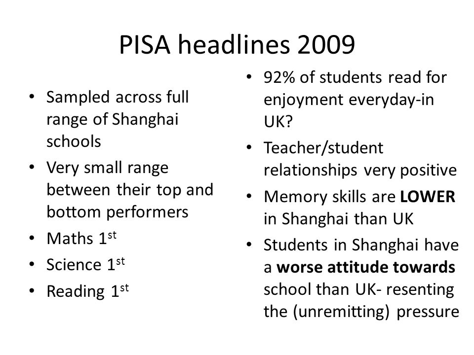 PISA headlines 2009 Sampled across full range of Shanghai schools Very small range between their top and bottom performers Maths 1 st Science 1 st Rea