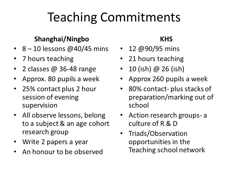 Teaching Commitments Shanghai/Ningbo 8 – 10 lessons @40/45 mins 7 hours teaching 2 classes @ 36-48 range Approx. 80 pupils a week 25% contact plus 2 h