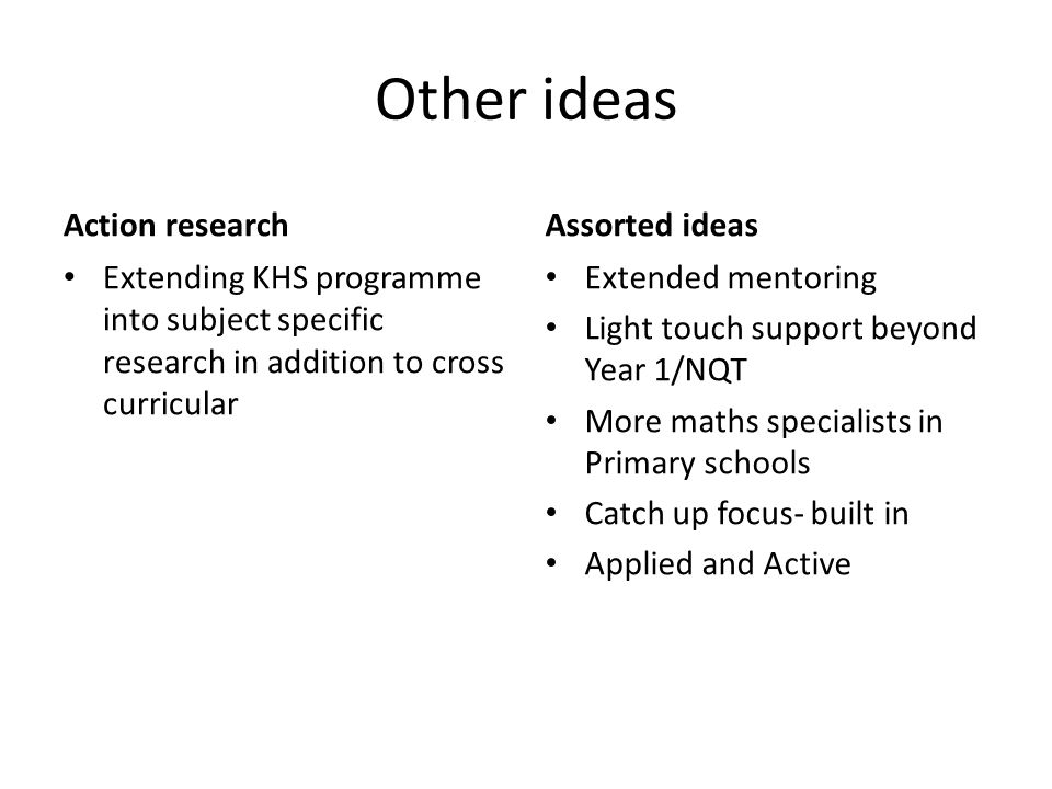 Other ideas Action research Extending KHS programme into subject specific research in addition to cross curricular Assorted ideas Extended mentoring L