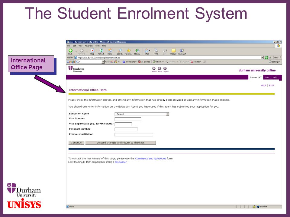 ∂ The Student Enrolment System International Office Page