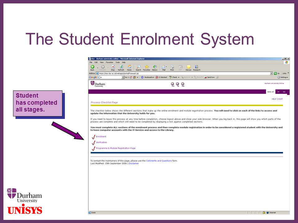 ∂ The Student Enrolment System Student has completed all stages. Student has completed all stages.