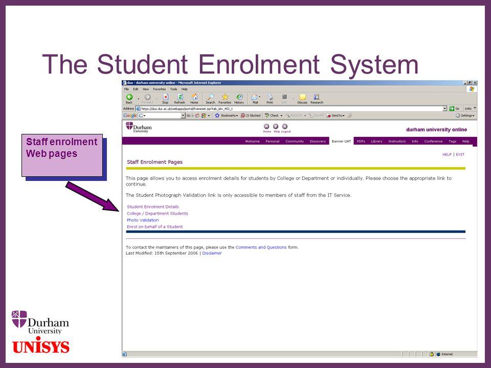 ∂ The Student Enrolment System Staff enrolment Web pages Staff enrolment Web pages