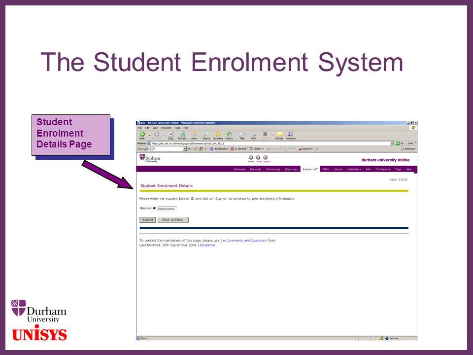 ∂ The Student Enrolment System Student Enrolment Details Page Student Enrolment Details Page