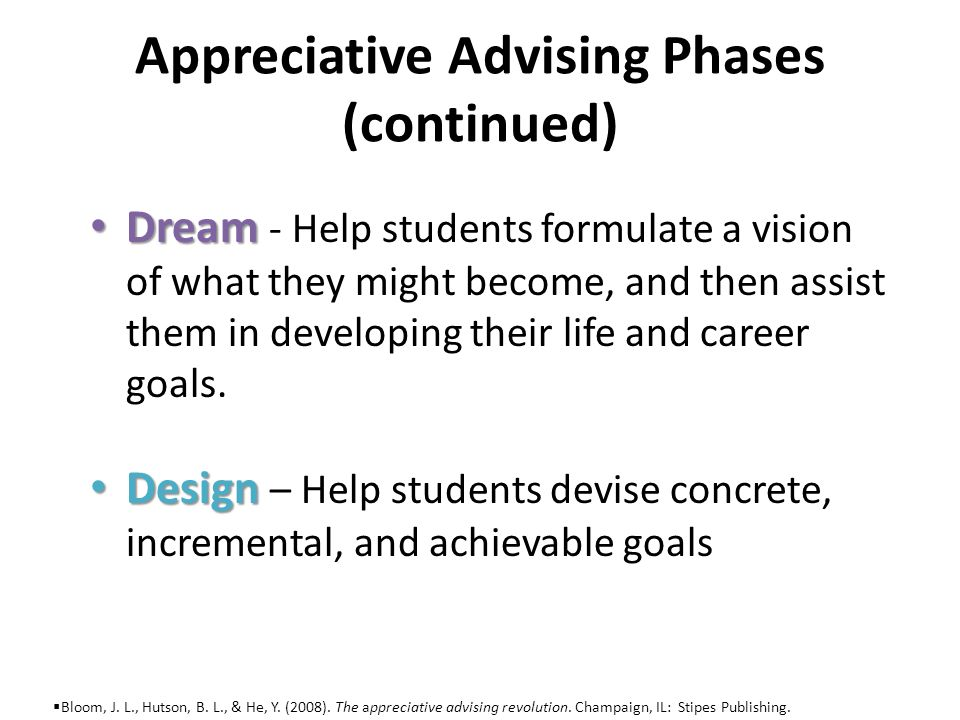 Appreciative Advising Phases (continued) Deliver Deliver – The students follow through on their plans.