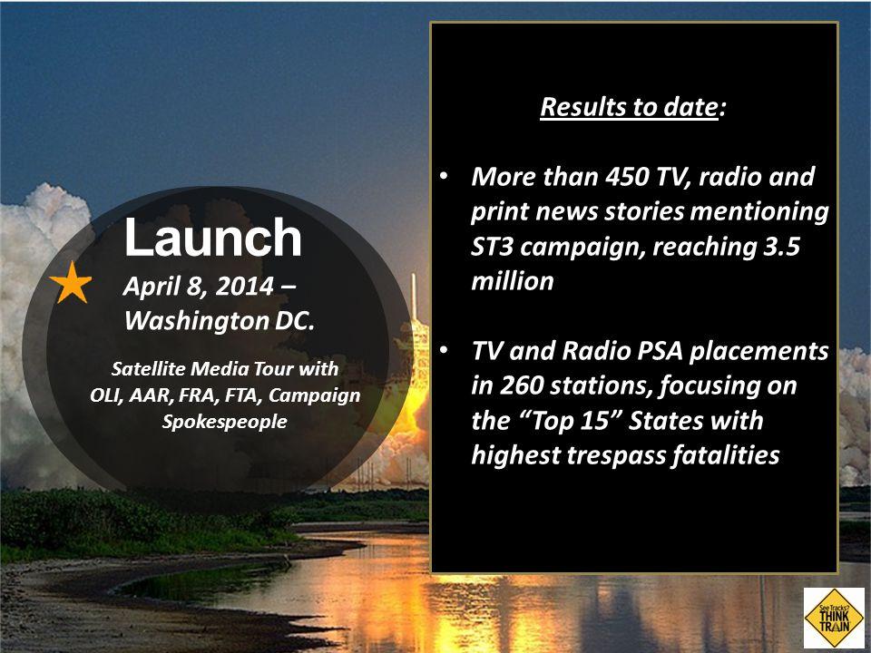 Launch April 8, 2014 – Washington DC.