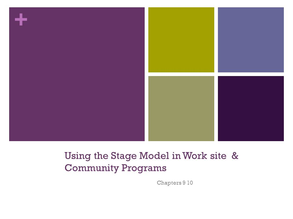 + Using the Stage Model in Work site & Community Programs Chapters 9 10