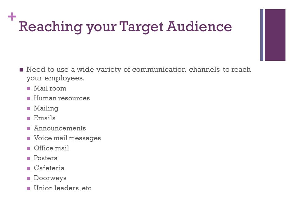 + Reaching your Target Audience Need to use a wide variety of communication channels to reach your employees.