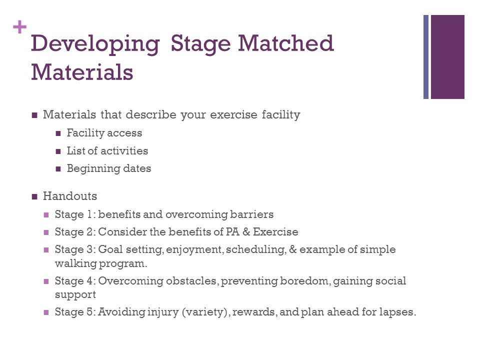 + Developing Stage Matched Materials Materials that describe your exercise facility Facility access List of activities Beginning dates Handouts Stage 1: benefits and overcoming barriers Stage 2: Consider the benefits of PA & Exercise Stage 3: Goal setting, enjoyment, scheduling, & example of simple walking program.