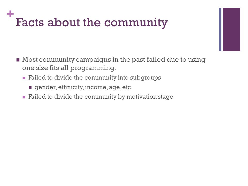 + Facts about the community Most community campaigns in the past failed due to using one size fits all programming.