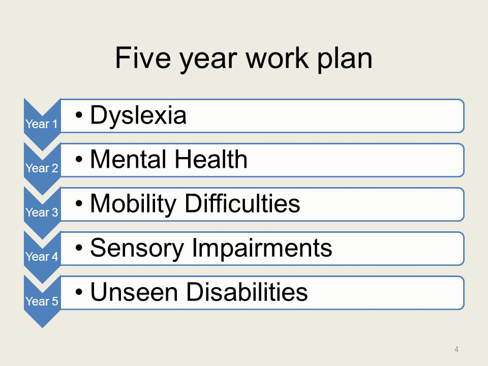 Five year work plan Year 1 Dyslexia Year 2 Mental Health Year 3 Mobility Difficulties Year 4 Sensory Impairments Year 5 Unseen Disabilities 4