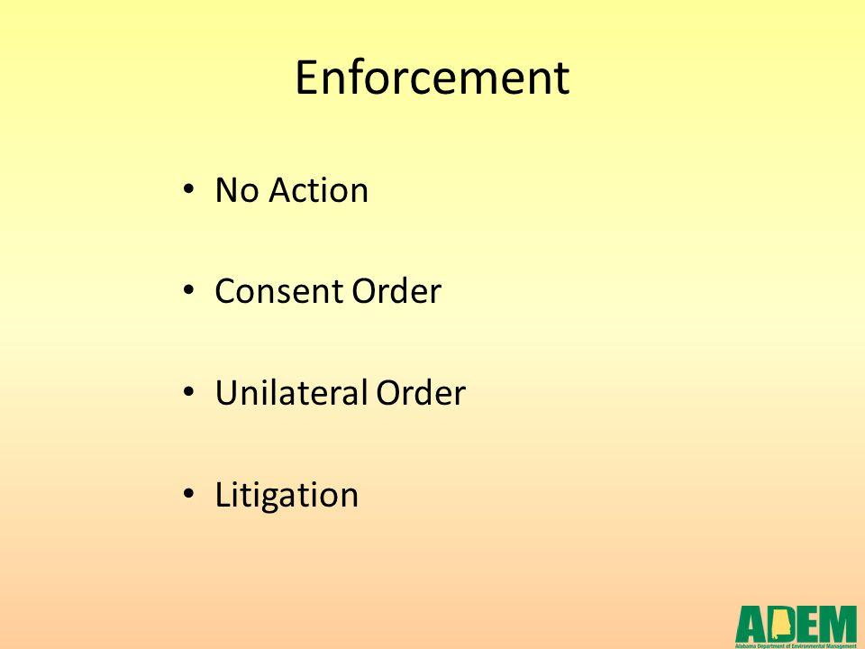 Enforcement No Action Consent Order Unilateral Order Litigation