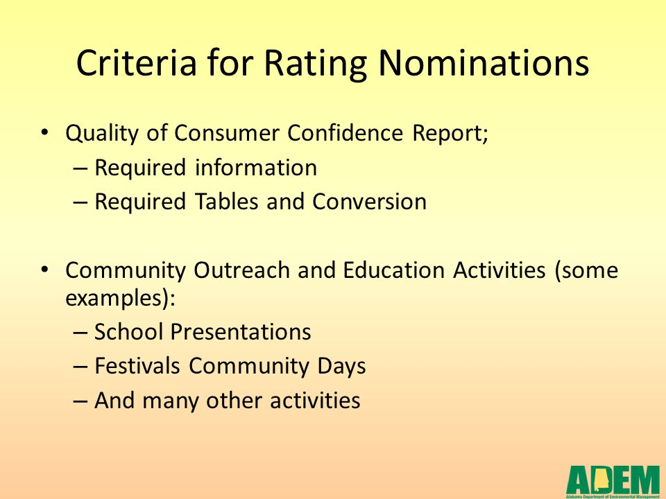 Criteria for Rating Nominations Quality of Consumer Confidence Report; – Required information – Required Tables and Conversion Community Outreach and