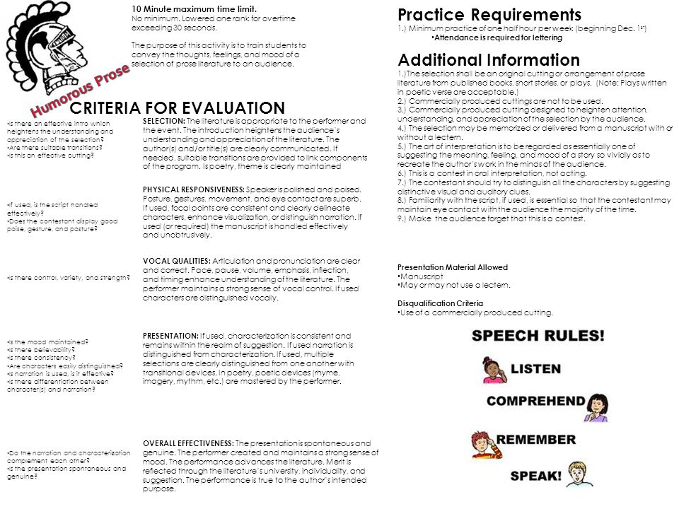 CRITERIA FOR EVALUATION SELECTION: The literature is appropriate to the performer and the event.