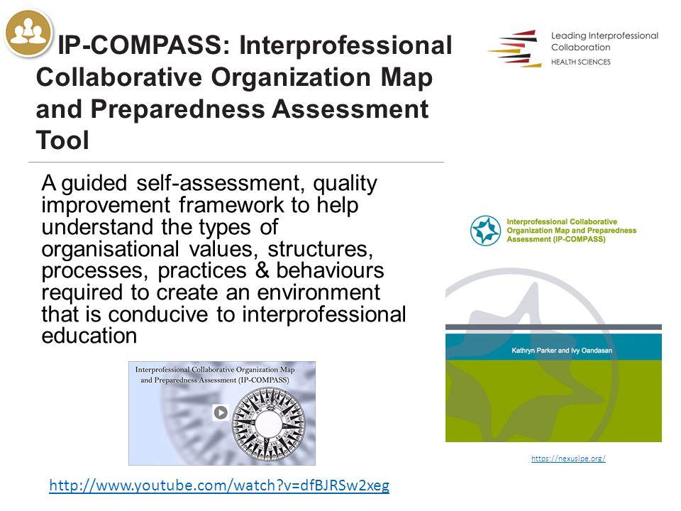 IP-COMPASS: Interprofessional Collaborative Organization Map and Preparedness Assessment Tool A guided self-assessment, quality improvement framework