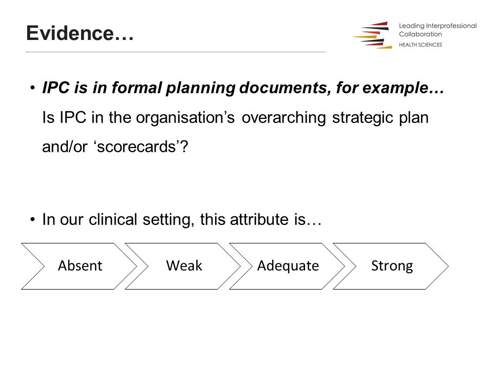 Evidence… IPC is in formal planning documents, for example… Is IPC in the organisation's overarching strategic plan and/or 'scorecards'? In our clinic