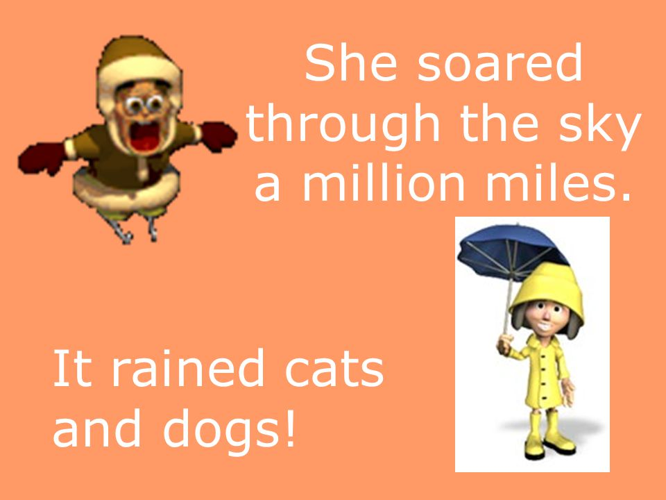 She soared through the sky a million miles. It rained cats and dogs!