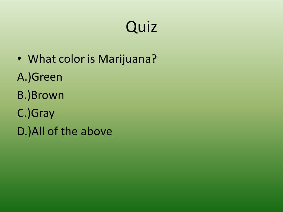 Quiz What color is Marijuana? A.)Green B.)Brown C.)Gray D.)All of the above