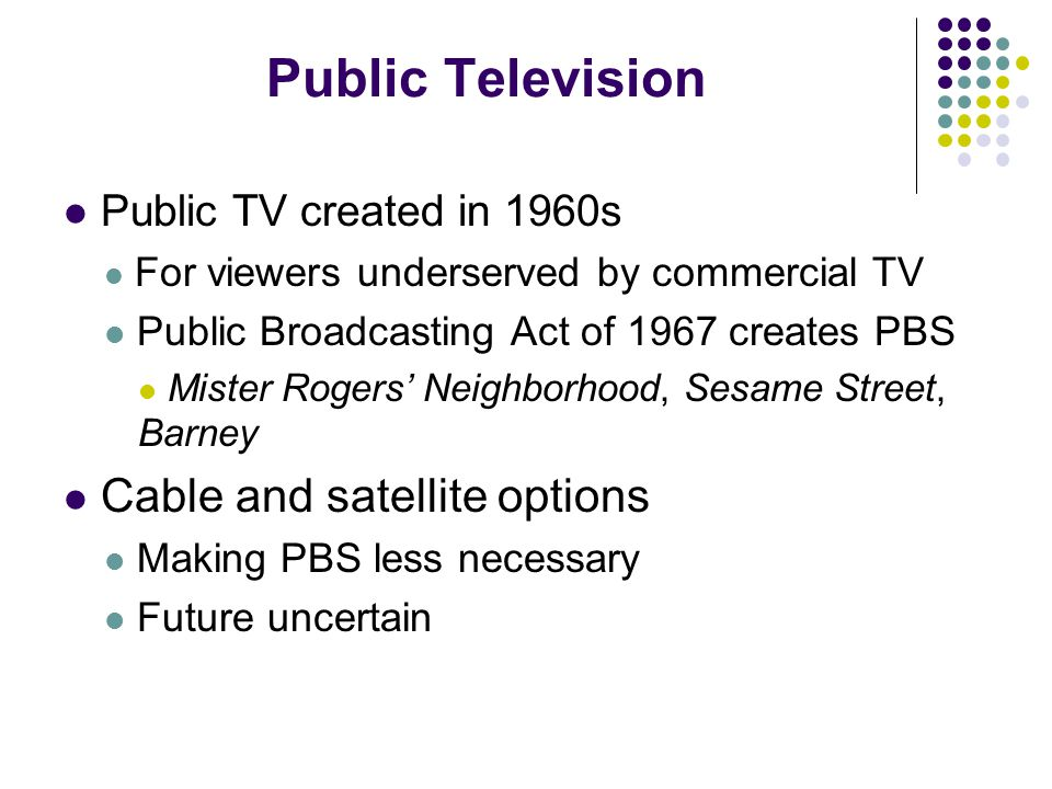 Public Television Public TV created in 1960s For viewers underserved by commercial TV Public Broadcasting Act of 1967 creates PBS Mister Rogers' Neighborhood, Sesame Street, Barney Cable and satellite options Making PBS less necessary Future uncertain