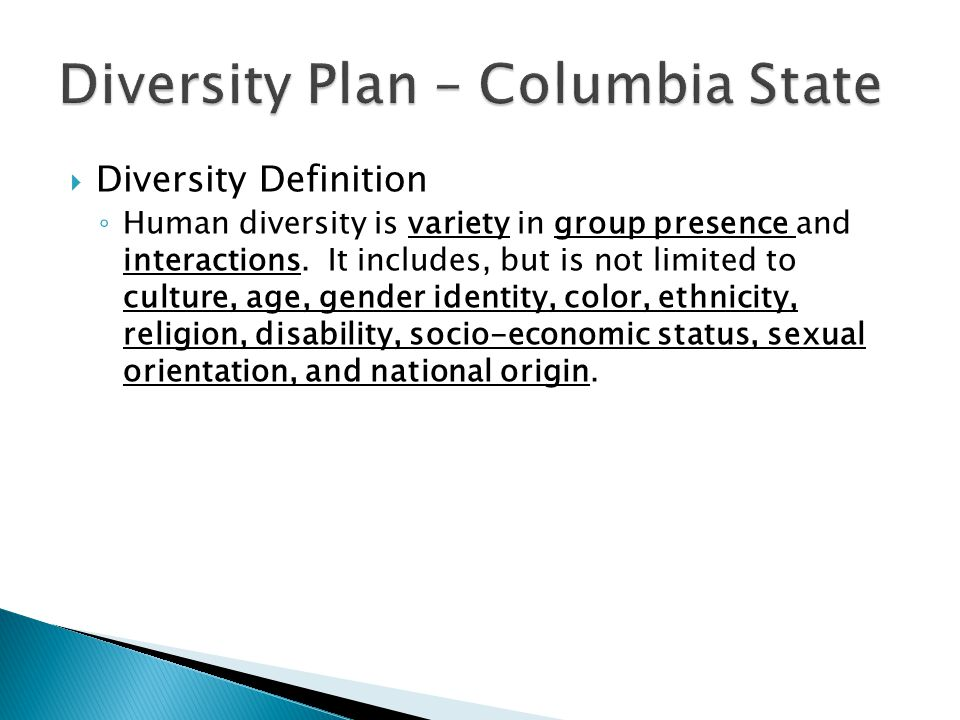  Diversity Definition ◦ Human diversity is variety in group presence and interactions.
