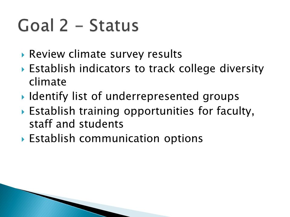 Review climate survey results  Establish indicators to track college diversity climate  Identify list of underrepresented groups  Establish train