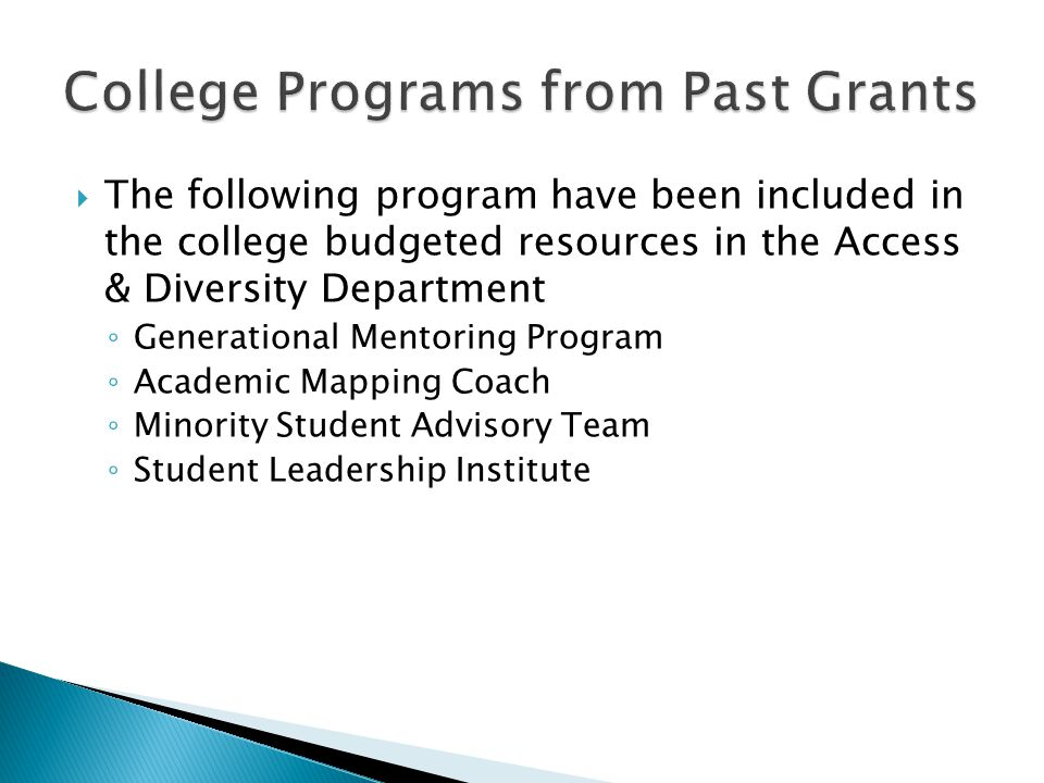  The following program have been included in the college budgeted resources in the Access & Diversity Department ◦ Generational Mentoring Program ◦ Academic Mapping Coach ◦ Minority Student Advisory Team ◦ Student Leadership Institute