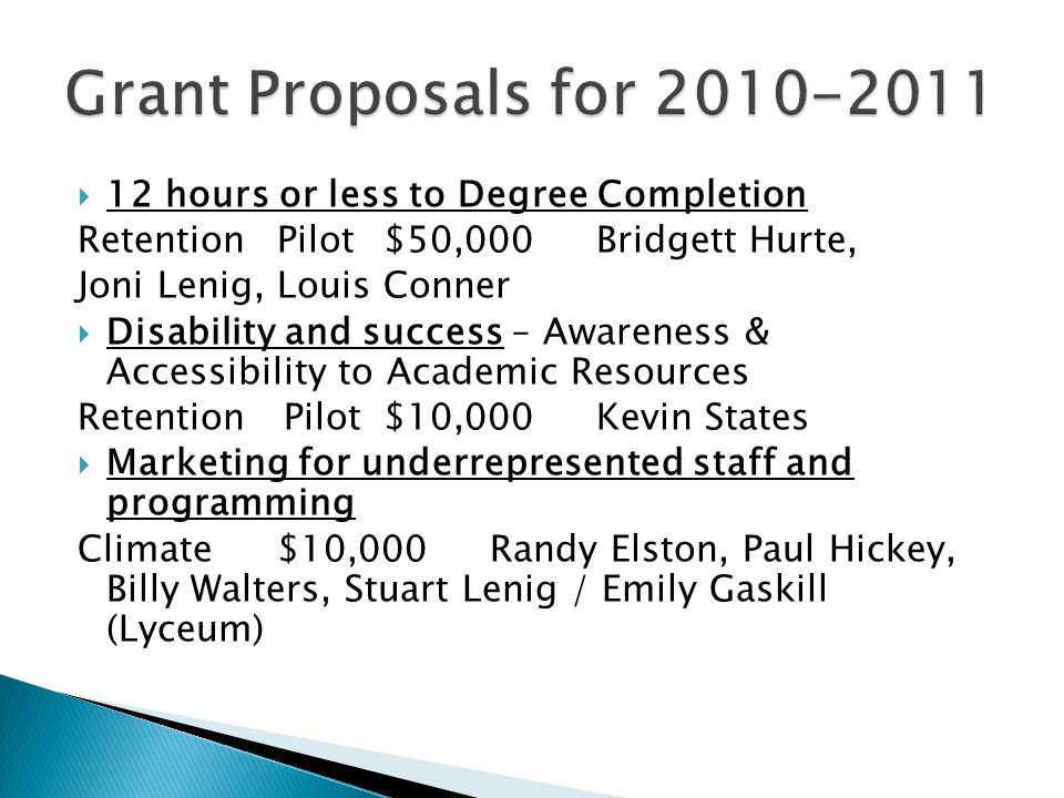  12 hours or less to Degree Completion RetentionPilot$50,000 Bridgett Hurte, Joni Lenig, Louis Conner  Disability and success – Awareness & Accessibility to Academic Resources Retention Pilot$10,000Kevin States  Marketing for underrepresented staff and programming Climate$10,000Randy Elston, Paul Hickey, Billy Walters, Stuart Lenig / Emily Gaskill (Lyceum)