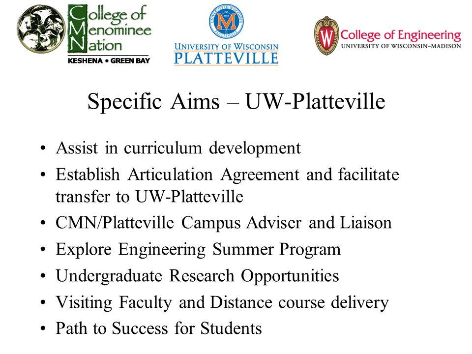 Specific Aims – UW-Platteville Assist in curriculum development Establish Articulation Agreement and facilitate transfer to UW-Platteville CMN/Plattev