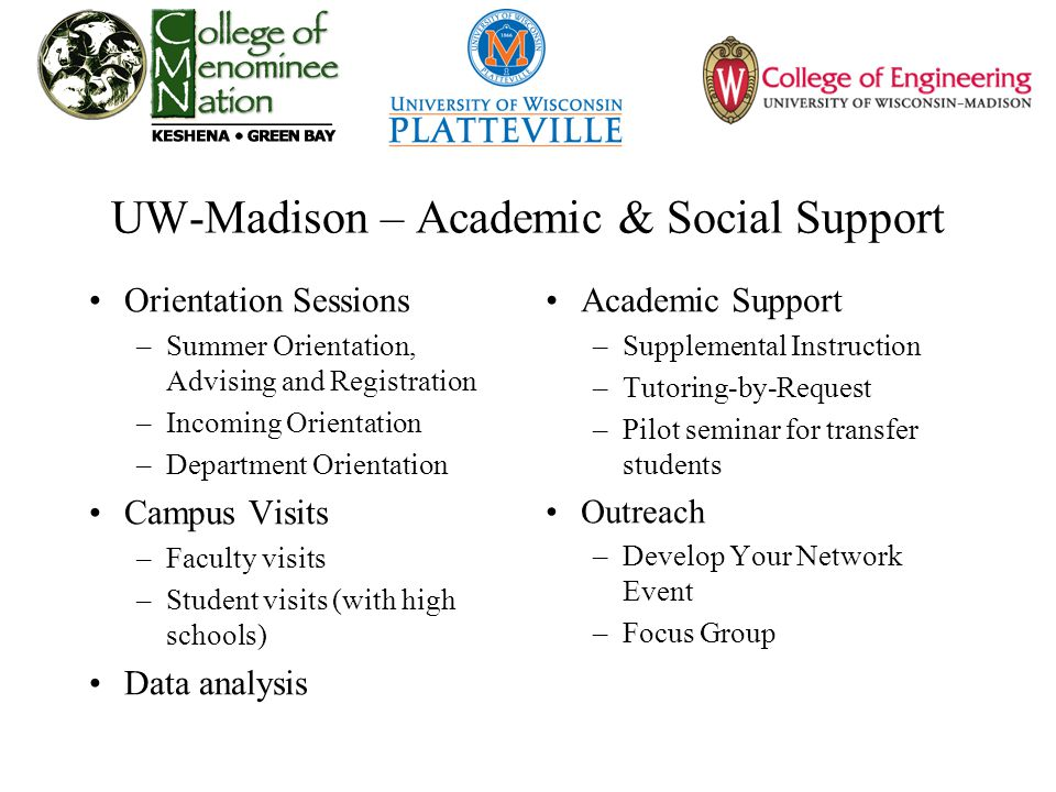 UW-Madison – Academic & Social Support Orientation Sessions –Summer Orientation, Advising and Registration –Incoming Orientation –Department Orientation Campus Visits –Faculty visits –Student visits (with high schools) Data analysis Academic Support –Supplemental Instruction –Tutoring-by-Request –Pilot seminar for transfer students Outreach –Develop Your Network Event –Focus Group