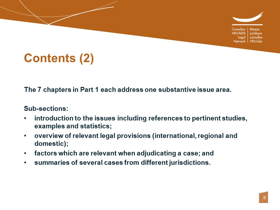 8 Contents (2) The 7 chapters in Part 1 each address one substantive issue area. Sub-sections: introduction to the issues including references to pert