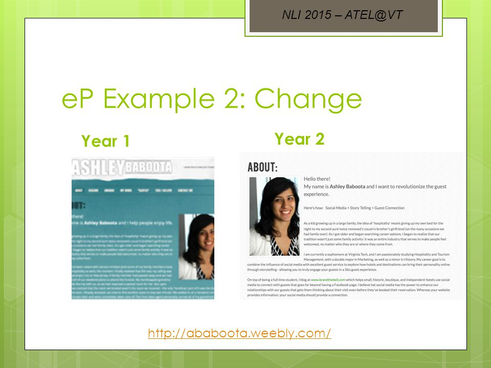 eP Example 2: Change Year 1 Year 2 http://ababoota.weebly.com/ NLI 2015 – ATEL@VT