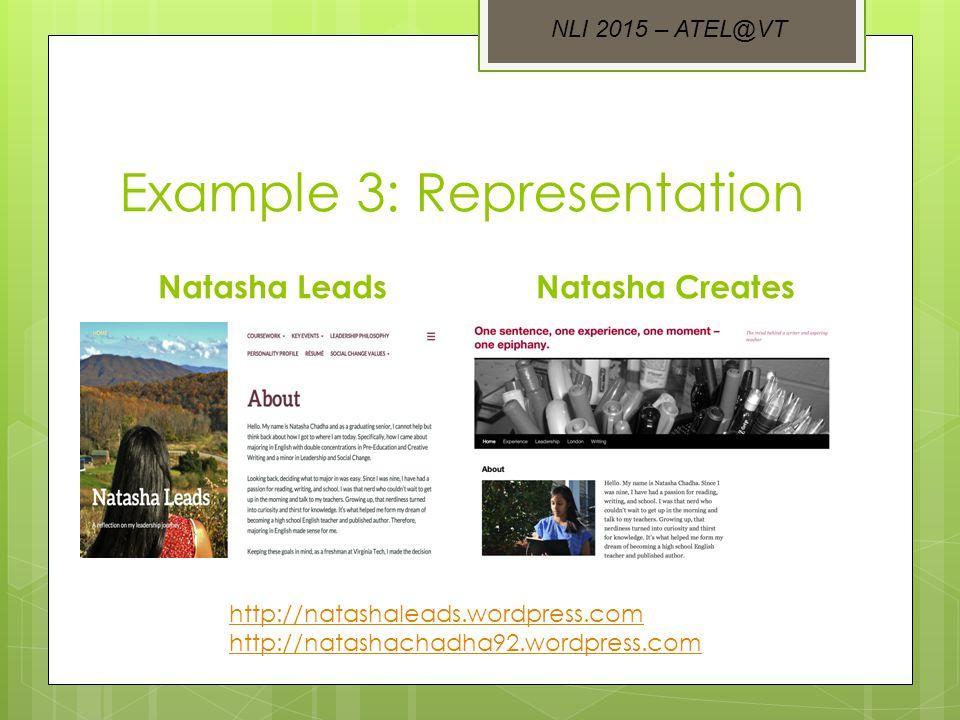Example 3: Representation Natasha LeadsNatasha Creates http://natashaleads.wordpress.com http://natashachadha92.wordpress.com NLI 2015 – ATEL@VT