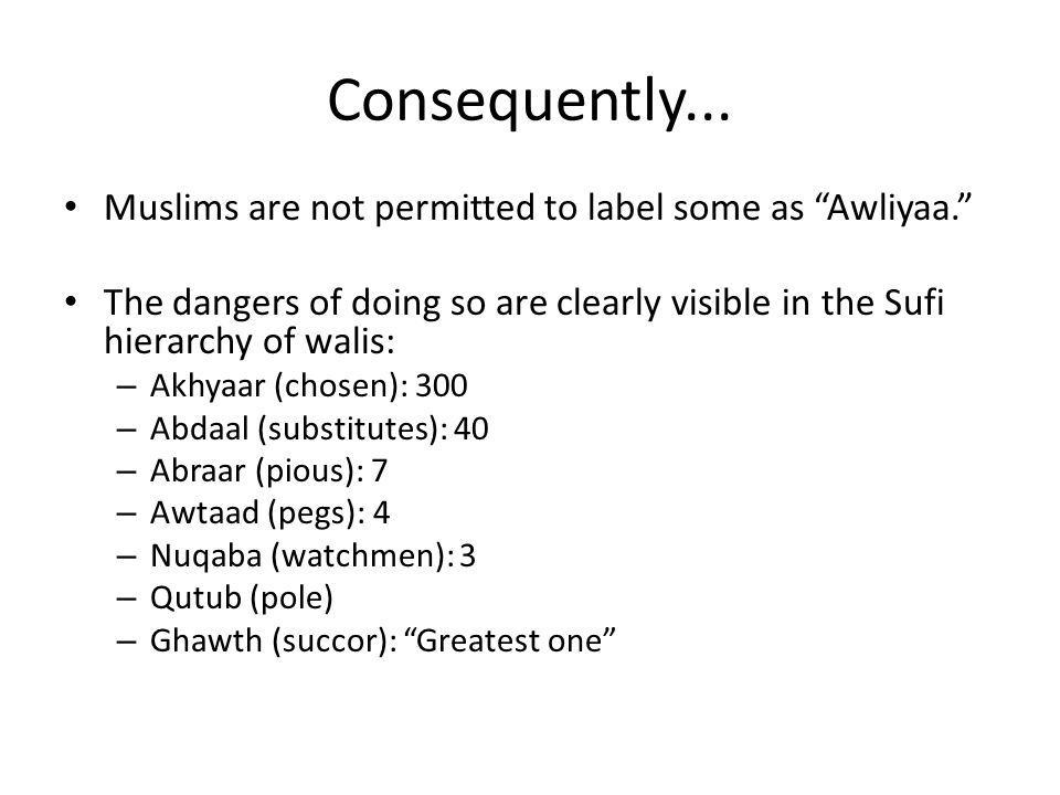 Consequently...
