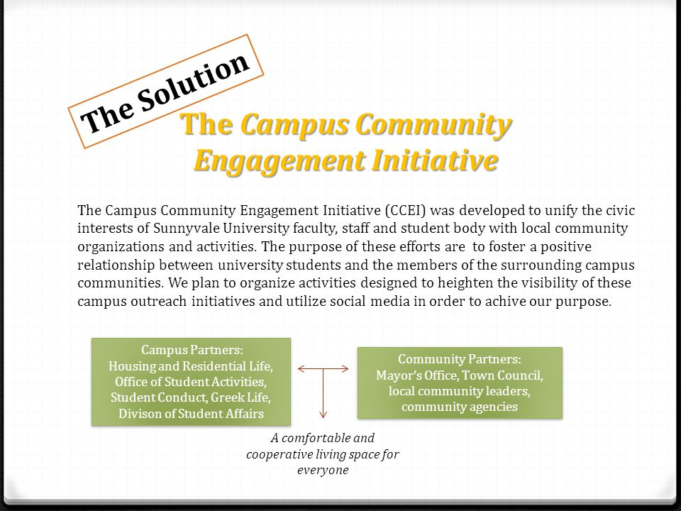 The Campus Community Engagement Initiative The Campus Community Engagement Initiative (CCEI) was developed to unify the civic interests of Sunnyvale University faculty, staff and student body with local community organizations and activities.