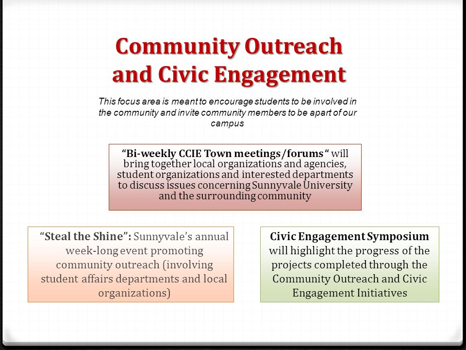 Community Outreach and Civic Engagement Bi-weekly CCIE Town meetings/forums will bring together local organizations and agencies, student organizations and interested departments to discuss issues concerning Sunnyvale University and the surrounding community Steal the Shine : Sunnyvale's annual week-long event promoting community outreach (involving student affairs departments and local organizations) Civic Engagement Symposium will highlight the progress of the projects completed through the Community Outreach and Civic Engagement Initiatives This focus area is meant to encourage students to be involved in the community and invite community members to be apart of our campus