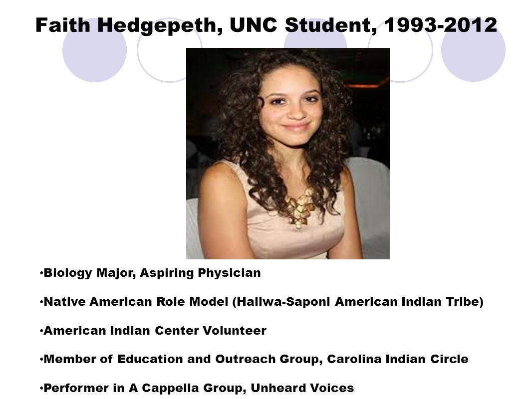 Faith Hedgepeth, UNC Student, 1993-2012 Biology Major, Aspiring Physician Native American Role Model (Haliwa-Saponi American Indian Tribe) American Indian Center Volunteer Member of Education and Outreach Group, Carolina Indian Circle Performer in A Cappella Group, Unheard Voices