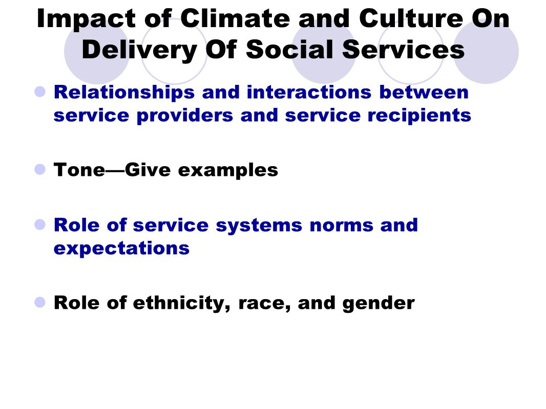 Impact of Climate and Culture On Delivery Of Social Services Relationships and interactions between service providers and service recipients Tone—Give