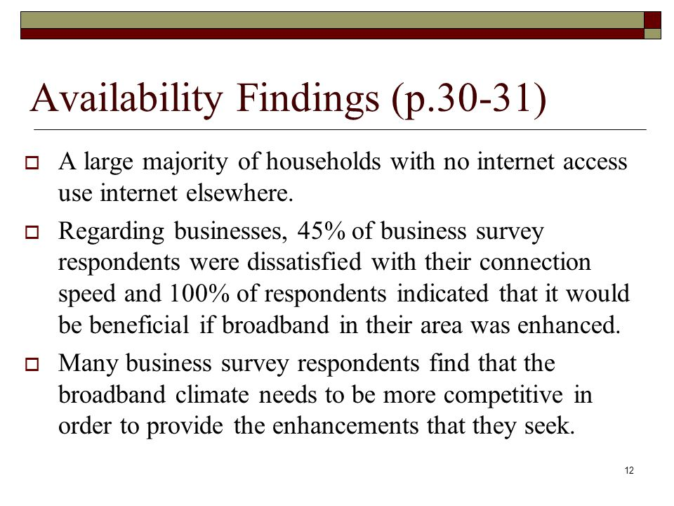 Availability Findings (p.30-31)  A large majority of households with no internet access use internet elsewhere.