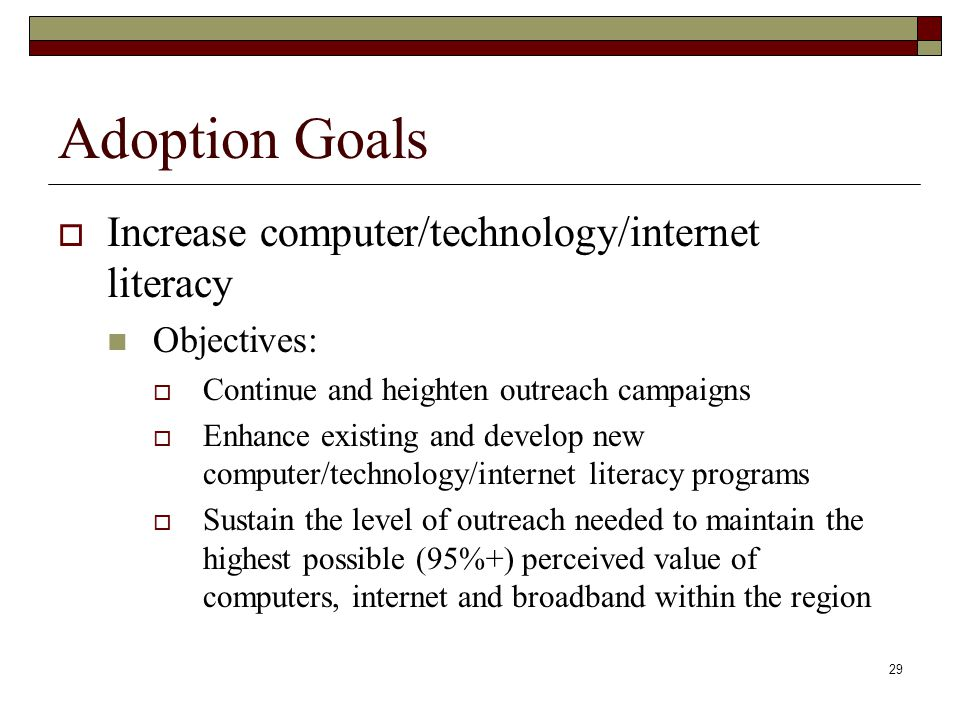 Adoption Goals  Increase computer/technology/internet literacy Objectives:  Continue and heighten outreach campaigns  Enhance existing and develop new computer/technology/internet literacy programs  Sustain the level of outreach needed to maintain the highest possible (95%+) perceived value of computers, internet and broadband within the region 29