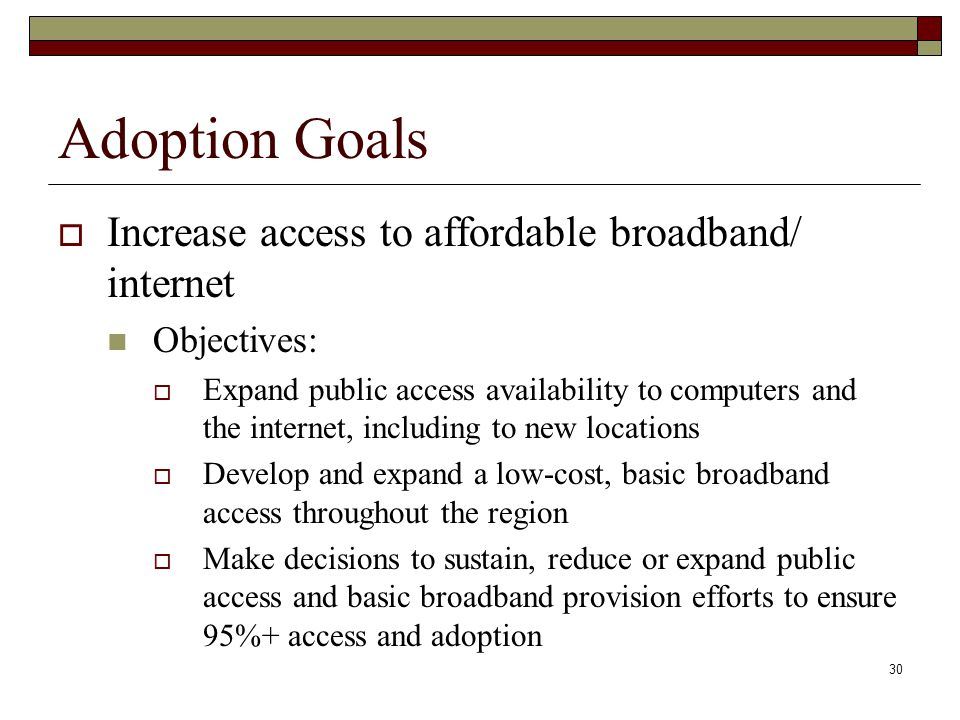Adoption Goals  Increase access to affordable broadband/ internet Objectives:  Expand public access availability to computers and the internet, including to new locations  Develop and expand a low-cost, basic broadband access throughout the region  Make decisions to sustain, reduce or expand public access and basic broadband provision efforts to ensure 95%+ access and adoption 30