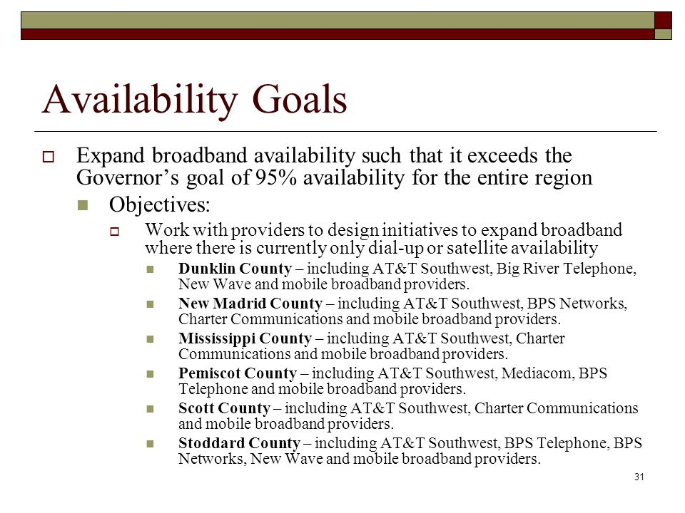 Availability Goals  Expand broadband availability such that it exceeds the Governor's goal of 95% availability for the entire region Objectives:  Work with providers to design initiatives to expand broadband where there is currently only dial-up or satellite availability Dunklin County – including AT&T Southwest, Big River Telephone, New Wave and mobile broadband providers.