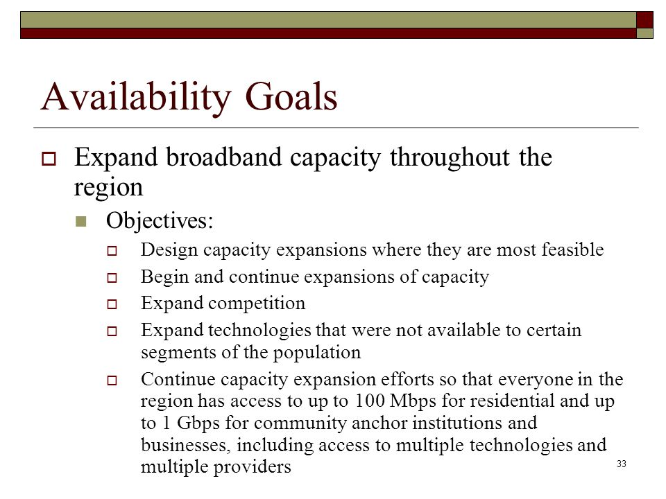 Availability Goals  Expand broadband capacity throughout the region Objectives:  Design capacity expansions where they are most feasible  Begin and continue expansions of capacity  Expand competition  Expand technologies that were not available to certain segments of the population  Continue capacity expansion efforts so that everyone in the region has access to up to 100 Mbps for residential and up to 1 Gbps for community anchor institutions and businesses, including access to multiple technologies and multiple providers 33
