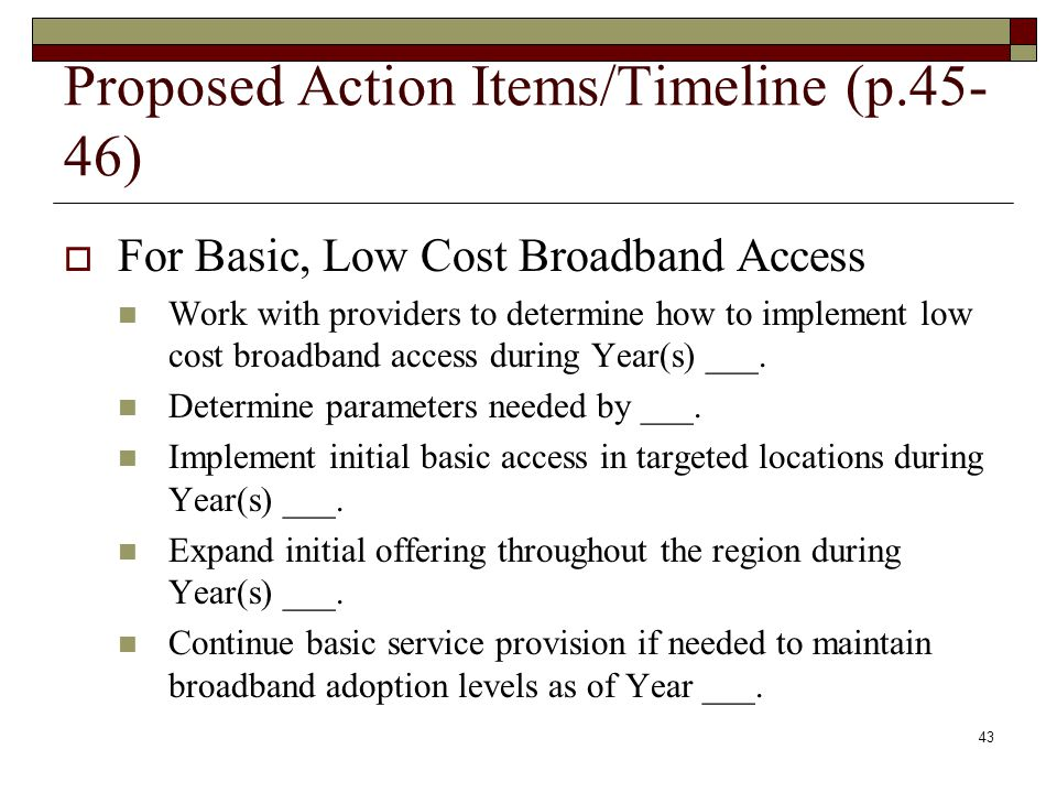 Proposed Action Items/Timeline (p.45- 46)  For Basic, Low Cost Broadband Access Work with providers to determine how to implement low cost broadband access during Year(s) ___.