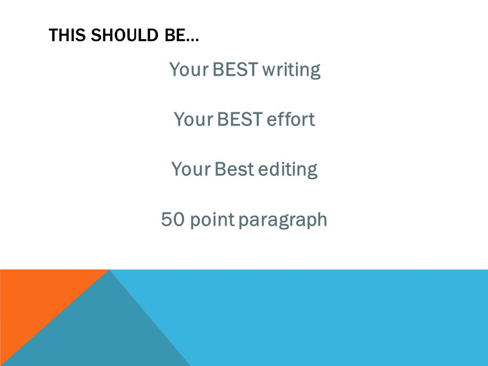 THIS SHOULD BE… Your BEST writing Your BEST effort Your Best editing 50 point paragraph