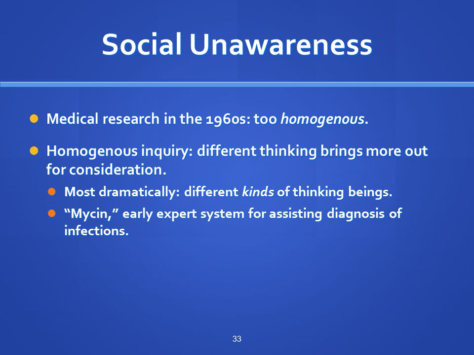 Social Unawareness Medical research in the 1960s: too homogenous.