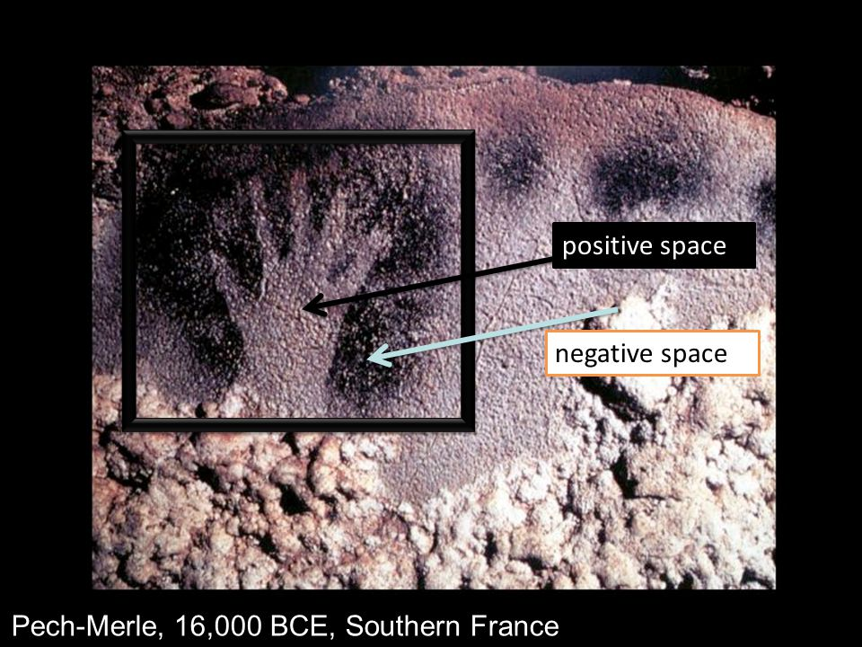 positive space negative space Pech-Merle, 16,000 BCE, Southern France