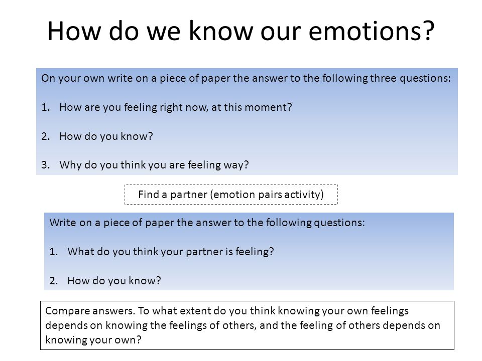 How do we know our emotions? On your own write on a piece of paper the answer to the following three questions: 1.How are you feeling right now, at th