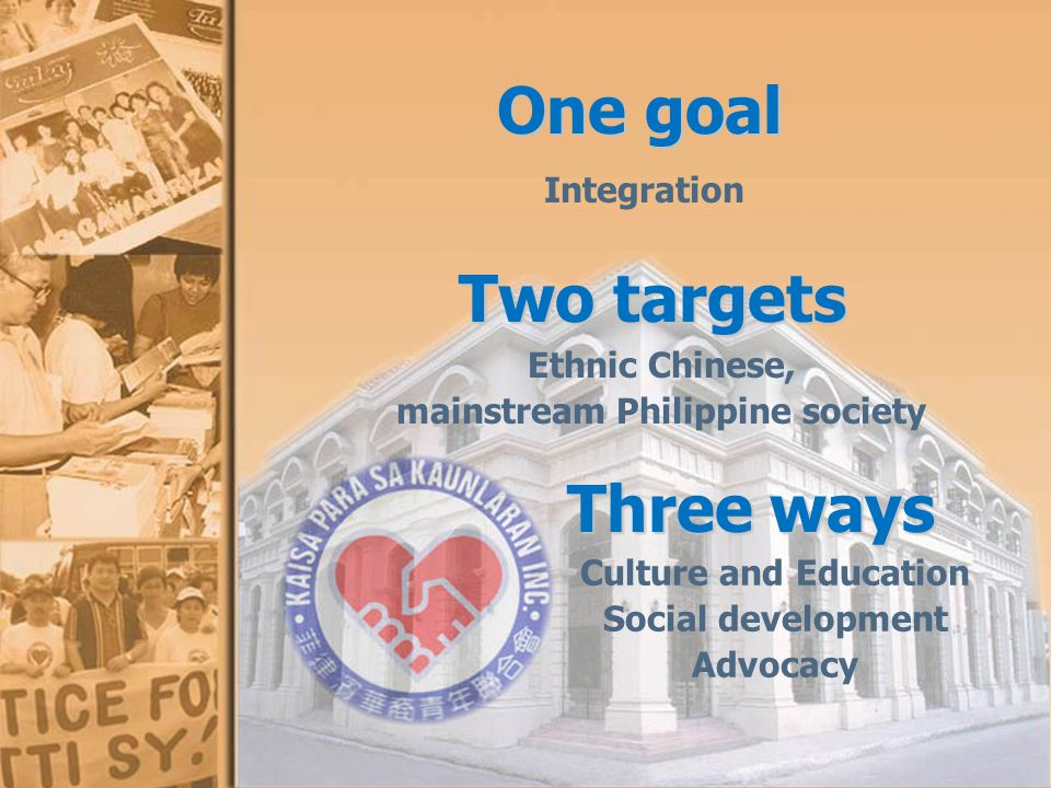 One goal Integration Two targets Ethnic Chinese, mainstream Philippine society Three ways Three ways Culture and Education Social development Advocacy