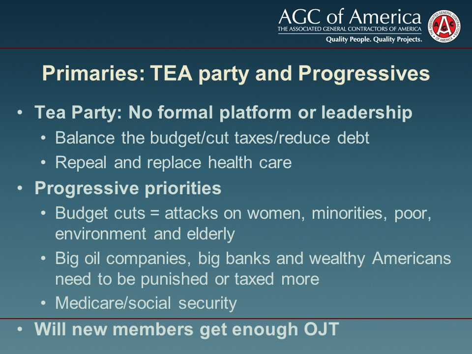 Primaries: TEA party and Progressives Tea Party: No formal platform or leadership Balance the budget/cut taxes/reduce debt Repeal and replace health care Progressive priorities Budget cuts = attacks on women, minorities, poor, environment and elderly Big oil companies, big banks and wealthy Americans need to be punished or taxed more Medicare/social security Will new members get enough OJT