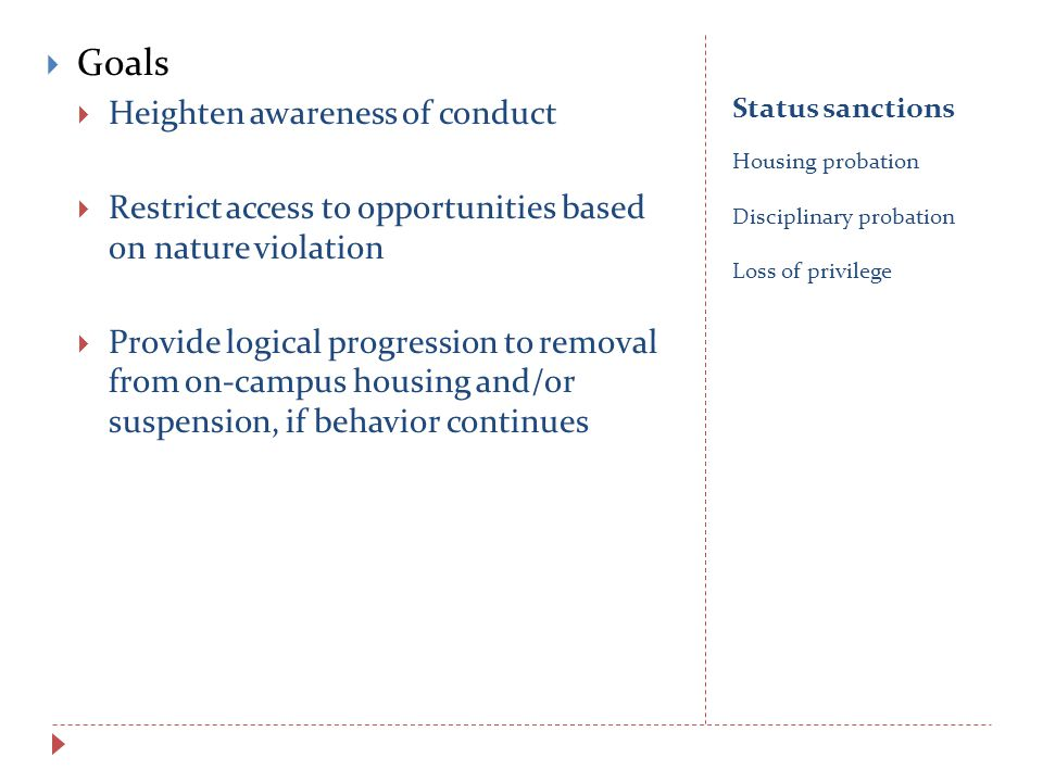 Status sanctions Housing probation Disciplinary probation Loss of privilege  Goals  Heighten awareness of conduct  Restrict access to opportunities based on nature violation  Provide logical progression to removal from on-campus housing and/or suspension, if behavior continues